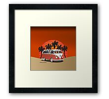 21 Window VW Bus Red Surfboard on the Beach Framed Print