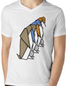 Patterned Origami Emperor Penguins Mens V-Neck T-Shirt
