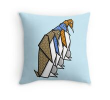 Patterned Origami Emperor Penguins Throw Pillow