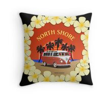 21 Window VW Bus Red Surfboard North Shore Throw Pillow