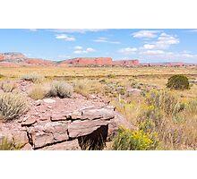 Desert road and mesa Route 66, Arizona, USA. Photographic Print