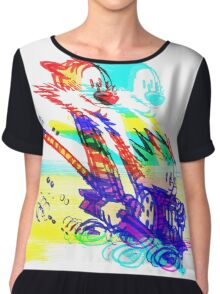 Calvin and Hobbes Glitch Art Chiffon Top