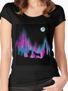 Aurora Wolves 1 by Leslie Berg Women's Fitted Scoop T-Shirt