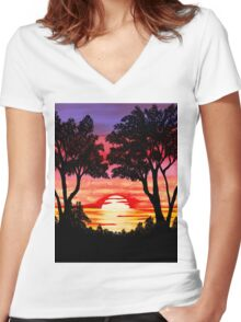 Pink Sunset Painting Women's Fitted V-Neck T-Shirt