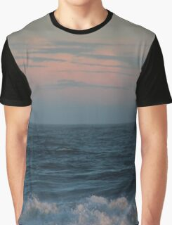 Pink Sunset Waves Photograph Graphic T-Shirt
