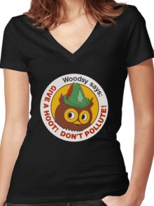Give a Hoot!  Women's Fitted V-Neck T-Shirt