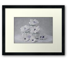 Little White Pots And Begonias - Digital Watercolor  Framed Print