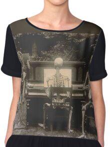Victorian Skeletal Vignette Chiffon Top