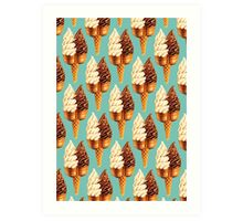 Twin Cone Pattern - Teal Art Print