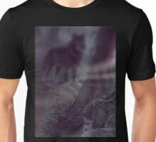 There In The Moonlit Fog A Dark Wolf   Unisex T-Shirt
