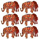Exotic Persian Elephants, in a pattern. by Mary Taylor