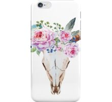 Boho skull with roses iPhone Case/Skin