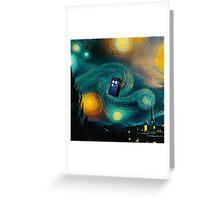 Starry Night Tardis Art Painting Greeting Card