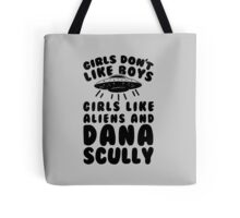 girls like aliens and dana scully Tote Bag