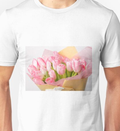 Bouquet of pink tulips Unisex T-Shirt