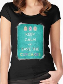 Keep Calm And Save The Cupcakes Women's Fitted Scoop T-Shirt
