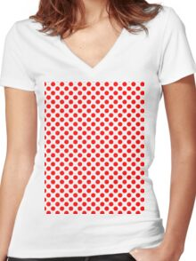 Polka Dot Red and White Pattern Women's Fitted V-Neck T-Shirt