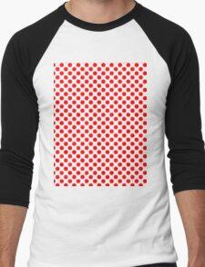 Polka Dot Red and White Pattern Men's Baseball ¾ T-Shirt