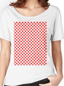 Polka Dot Red and White Pattern Women's Relaxed Fit T-Shirt