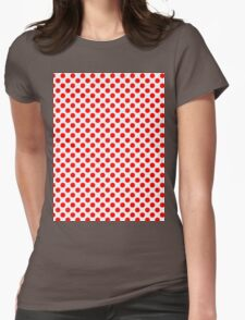 Polka Dot Red and White Pattern Womens Fitted T-Shirt