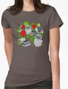 Red roses and clever owls. Womens Fitted T-Shirt
