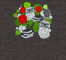 Red roses and clever owls. Unisex T-Shirt
