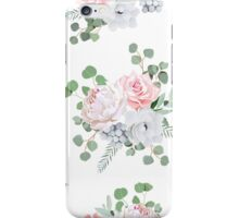 Cute bouquets of rose, peony, anemone, brunia flowers and eucalyptus leaves iPhone Case/Skin