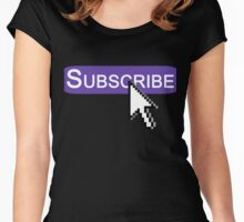Click Subscribe! [Twitch Purple] Women's Fitted Scoop T-Shirt
