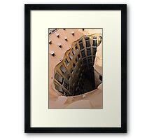 The Lost Straw Hat - Antoni Gaudi La Pedrera Courtyard From Above - Vertical Framed Print