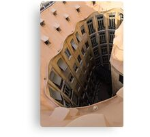 The Lost Straw Hat - Antoni Gaudi's La Pedrera Courtyard From Above - Vertical Canvas Print