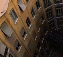 The Lost Straw Hat - Antoni Gaudi La Pedrera Courtyard From Above - Vertical Sticker