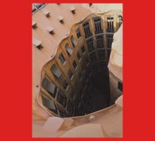 The Lost Straw Hat - Antoni Gaudi La Pedrera Courtyard From Above - Vertical One Piece - Short Sleeve