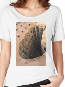 The Lost Straw Hat - Antoni Gaudi La Pedrera Courtyard From Above - Vertical Women's Relaxed Fit T-Shirt