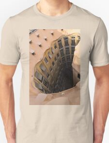 The Lost Straw Hat - Antoni Gaudi's La Pedrera Courtyard From Above - Vertical T-Shirt