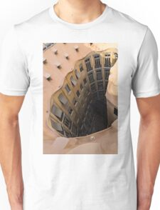 The Lost Straw Hat - Antoni Gaudi La Pedrera Courtyard From Above - Vertical Unisex T-Shirt