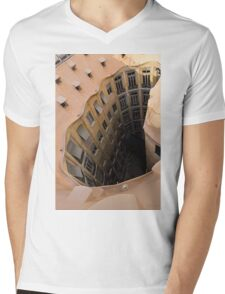 The Lost Straw Hat - Antoni Gaudi La Pedrera Courtyard From Above - Vertical Mens V-Neck T-Shirt