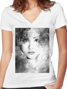 Beautiful woman face. Abstract fashion illustration Women's Fitted V-Neck T-Shirt