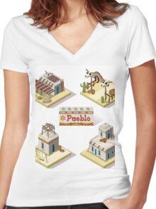 Western Rural Pueblo Tiles Women's Fitted V-Neck T-Shirt