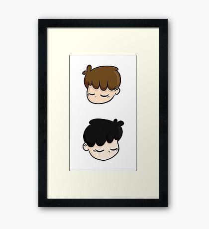 dan & phil - white Framed Print