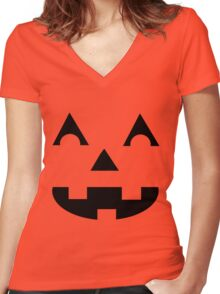 Jack O Lantern Face Women's Fitted V-Neck T-Shirt