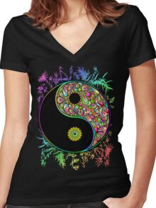Yin Yang Bamboo Psychedelic Women's Fitted V-Neck T-Shirt