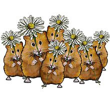 Hamster Group with Daisies, Cute, Whimsical Art Photographic Print