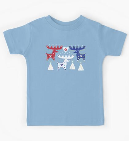 Three Folk Reindeer Kids Tee