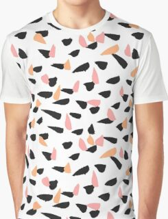 Black, Pink and Orange Brush Strokes Graphic T-Shirt