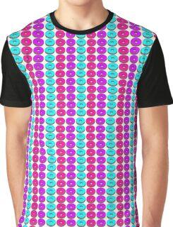 Pink Blue Purple Doughnut Pattern Graphic T-Shirt