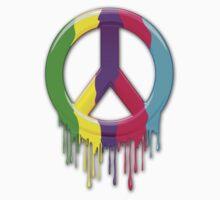 Peace Symbol Dripping Rainbow Paint Kids Tee
