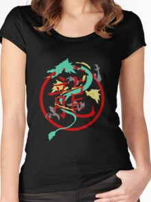 Beautiful Dragon weaved through Chinese dragon symbol Women's Fitted Scoop T-Shirt