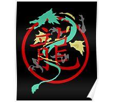 Beautiful Dragon weaved through Chinese dragon symbol Poster