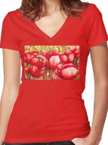 Dancing Tulips Women's Fitted V-Neck T-Shirt