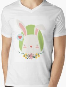 Happy Bunny Mens V-Neck T-Shirt